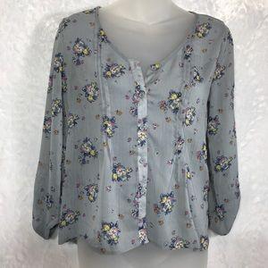 Grey floral print chiffon button shirt top blouse